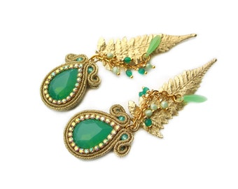 Soutache wedding or eavening earrings - elegant, classy and unusual - perfect for the Bride - Mystic leaves opal green