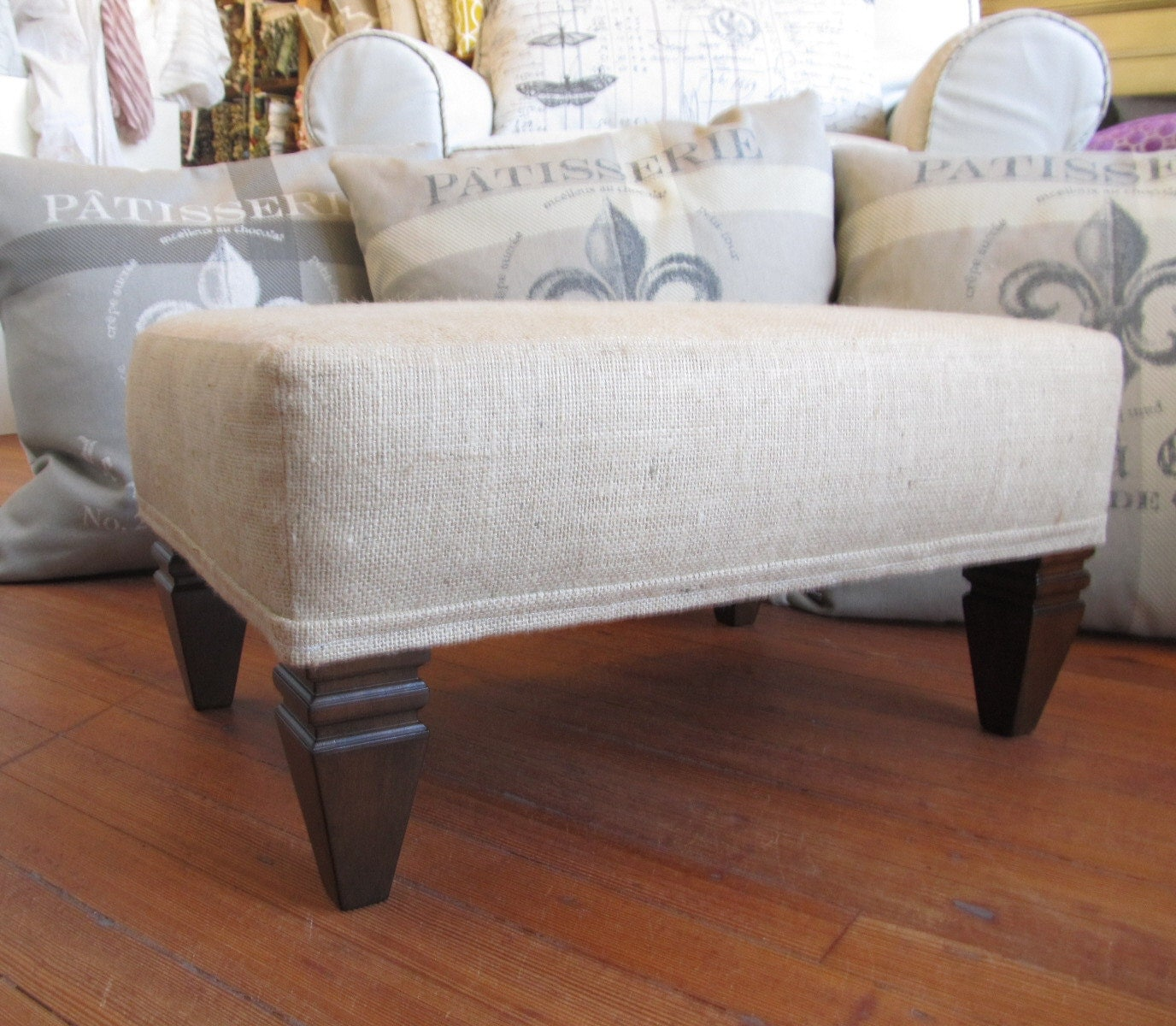 ottoman footstool coffee table burlap furniture. Black Bedroom Furniture Sets. Home Design Ideas