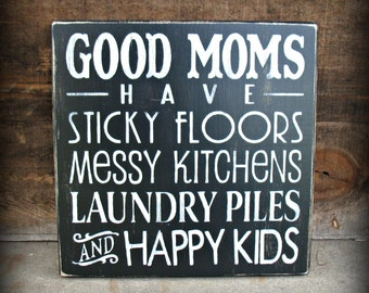 Good Moms   -- Painted Wooden Subway Typography Art Sign