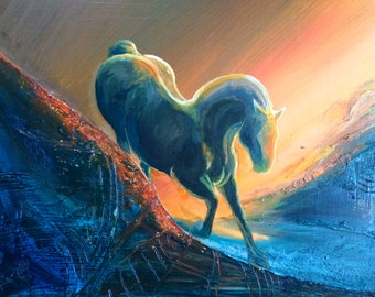 "Medium Horse, Original Acrylic on Panel, ""Predicament"" 24""x18"""