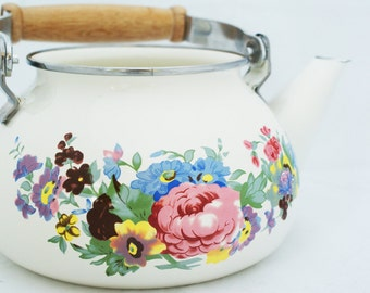 Tea kettle- Vintage enamel floral painted planter decorative