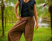 Fisherman Thai  Pants, Cotton, Patterned Brown UNISEX