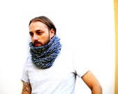 Hand knit infinity scarf/neckwarmer made of blue & green extra soft acrylic yarn - loop/circle scarf - cowl - hat - man/men/guys/woman