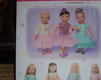New American Girl Doll Clothing Patterns...Simplicity #1485...18 Inch Doll Patterns...Skirts...Dresses...Tops