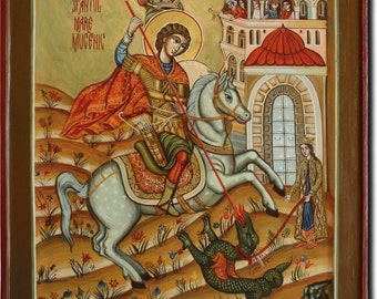 Saint George. Romanian icon Byzantine icon handmade painted. Made only on demand