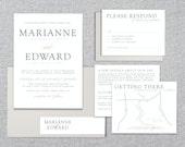 Printable Wedding Invitation Set - Just My Type - Invitation, RSVP Card, Enclosure & Directions Cards and Return Address Label