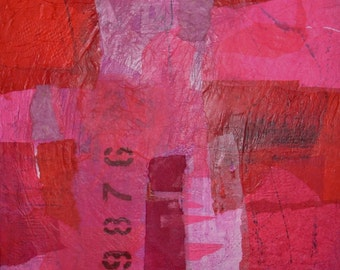 Mixed Media Collage Acrylic Abstract Modern Art Painting Original Wall Art by Donna Sledge