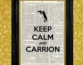 Halloween Vulture Silhouette Dictionary Art Print, Keep Calm and Carrion, Recycled Upcycled Book Page, Wall Art Decor