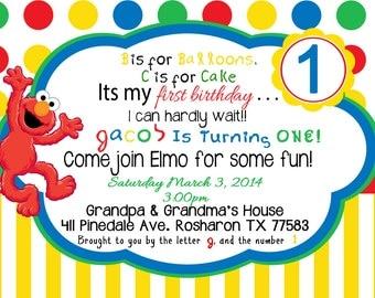 1st Birthday Elmo  Inspired Party Invitation