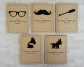 Birthday Card Set - Funny Cards - 20% off - Handmade - Mustache - Donkey - Glasses - Oar - Record