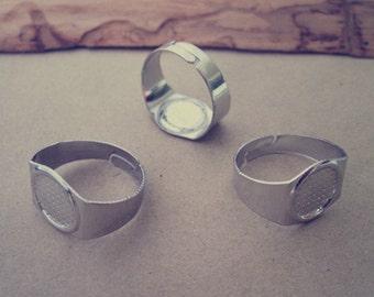 30pcs White K 10mm  adjustable ring bases