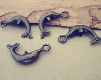 20pcs Antique bronze dolphins pendant charm 7mmx24mm