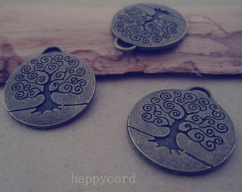 10pcs  Antique bronze Double sided Tree Pendant charm 23mm