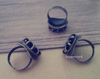 10 pcs antique bronze adjustable ring bases 18mm