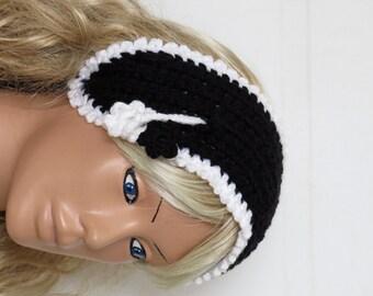 Crochet Flower Head band Oversized Ear Warmer Wide Knitted Headband Black and White. Winter Headband, Hair Coverings