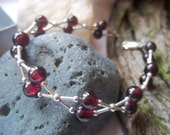 "Deep Red Garnet and Sterling silver ""Kiss"" Bracelet"