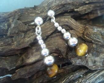 Tigers eye & sterling silver earrings