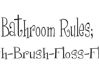 Bathroom Rules vinyl bathroom decal wall art decor removable