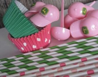 Pink John Deere* Baseball Cap Cupcake Toppers ~ Liners ~ Straws