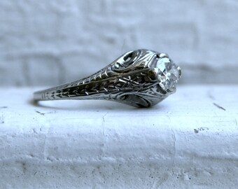Vintage Filigree 18K White Gold Solitaire Diamond Engagement Ring - 0.55ct