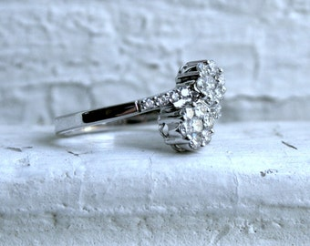 RESERVED - Vintage 9K White Gold Diamond ByPass Ring - 0.50ct.
