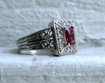 Vintage 14K White Gold Diamond and Pink Tourmaline Halo Ring.