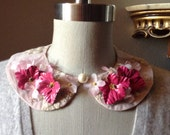 Pink Petals Rounded Lace Peter Pan Collar Necklace with Silk Organza and Leather Handmade Flowers