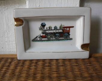 Vintage porcelain train ash tray