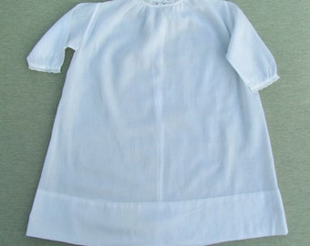 Vintage baby dress, white cotton embroidered and lace trimmed infant dress