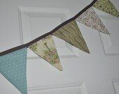 Fabric Bunting, fabric pennants, Shabby chic fabric home decor.  Pastel pennant banner, Trees and nature bunting.  Ready to ship