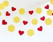 Yellow Hexagon Honey Comb Heart 10 ft Paper Garland- Wedding, Birthday, Bridal Shower, Baby Shower, Party Decorations, Bumble Bee Theme