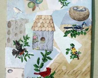 Handmade Bird, Spring Themed Mixed Media Art Canvas - OOAK