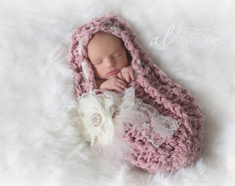 Hooded Cocoon, PLEASE LOOK at 2nd PHOTO, Swaddle, Rose, Floral Brooch, Vintage Rose, Cocoon, Feathers, Ready to Ship, Newborn Photo Prop
