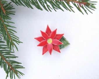 Poinsettia brooch red green glaze Holiday Winter colour