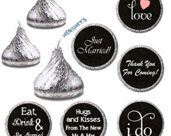 Printable Hershey Kiss Label, Wedding Kiss Sticker Labels, Chalkboard Wedding Candy Sticker / Confetti Wedding Favors, Candy Buffet (011)