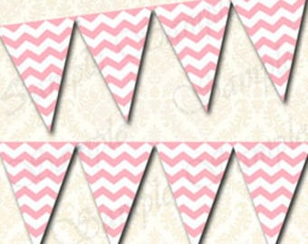 Printable Chevron Banner, Light Pink Pennant, Digital Download Party Banner, Decorations To Match Your Theme