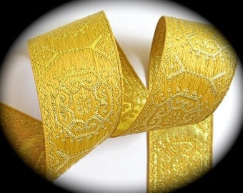 "Woven Jacquard  Ribbon  1 1/2""  x 3 yards  Gold on Gold  Metallic"