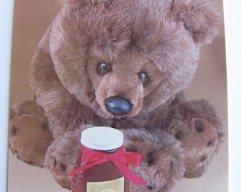 Teddy Bear Postcard  -  I love honey - Vintage 1980s