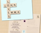 Premium Scrabble Themed Printable Save the Date - 6 x 4