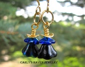 Dark blue/black glass flower earrings with gold accents, ready to ship, handmade, gifts for women, gifts under 15, bargain jewelry, fall