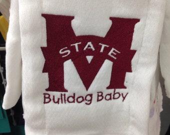 Bulldog Baby burp cloth Mississippi state burg rag. Custom orders available.