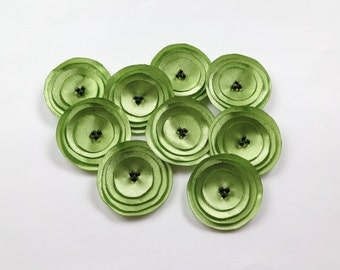 Green Satin Poppies Embellishment