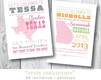 States Collection | Bachelorette Weekend Party Invitation | Printed or Printable by Darby Cards