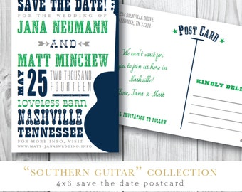 Southern Guitar Printed Save the Dates | Save the Date Postcard | Printed or Printable by Darby Cards