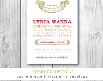 Derby Collection Printed invitations | Lydia Bachelorette Party Invitation and Envelope | Printed or Printable by Darby Cards
