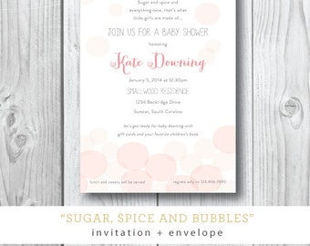 Sugar Spice and Bubbles Baby Shower Invitations