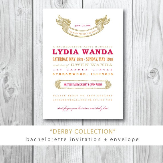 Derby Collection | Lydia Bachelorette Party Invitation and Envelope | Printed or Printable by Darby Cards