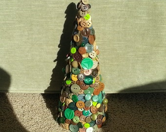 Handmade decorative multi colored brown  tan and green new and vintage button Christmas tree