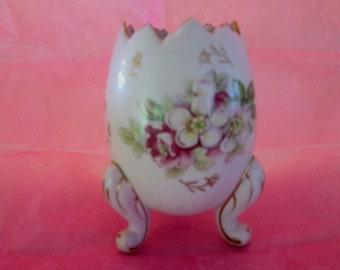 Vintage INARCO  Antique Floral Egg Vase - 1962 - Pedestal Vase Pretty Floral Pinks With Gold - SALE