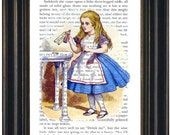 Alice in Wonderland Book Print Drink Me Fandom Wall Art Wonderland Book Page Print Wonderland Art